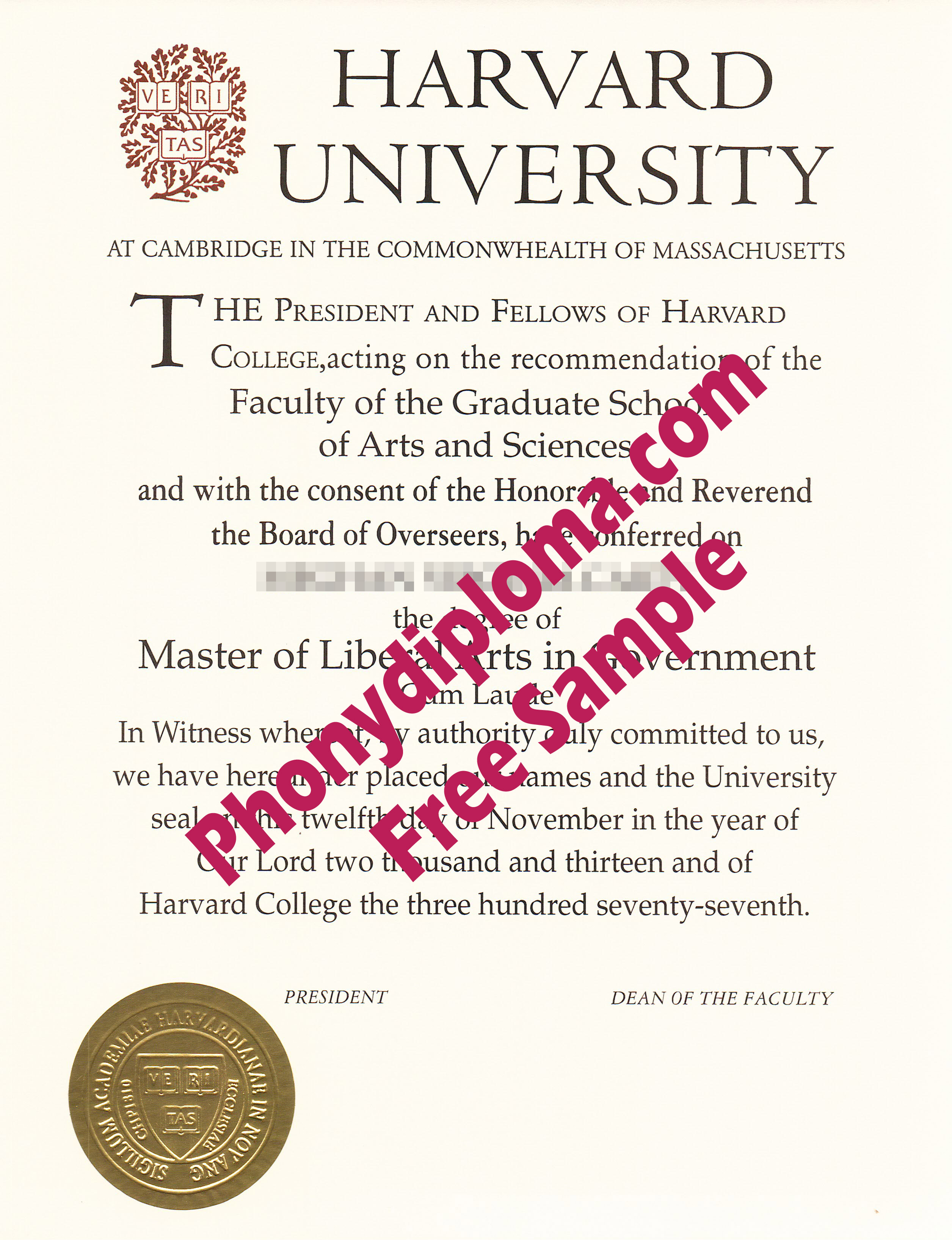 Harvard University Free Sample From Phonydiploma