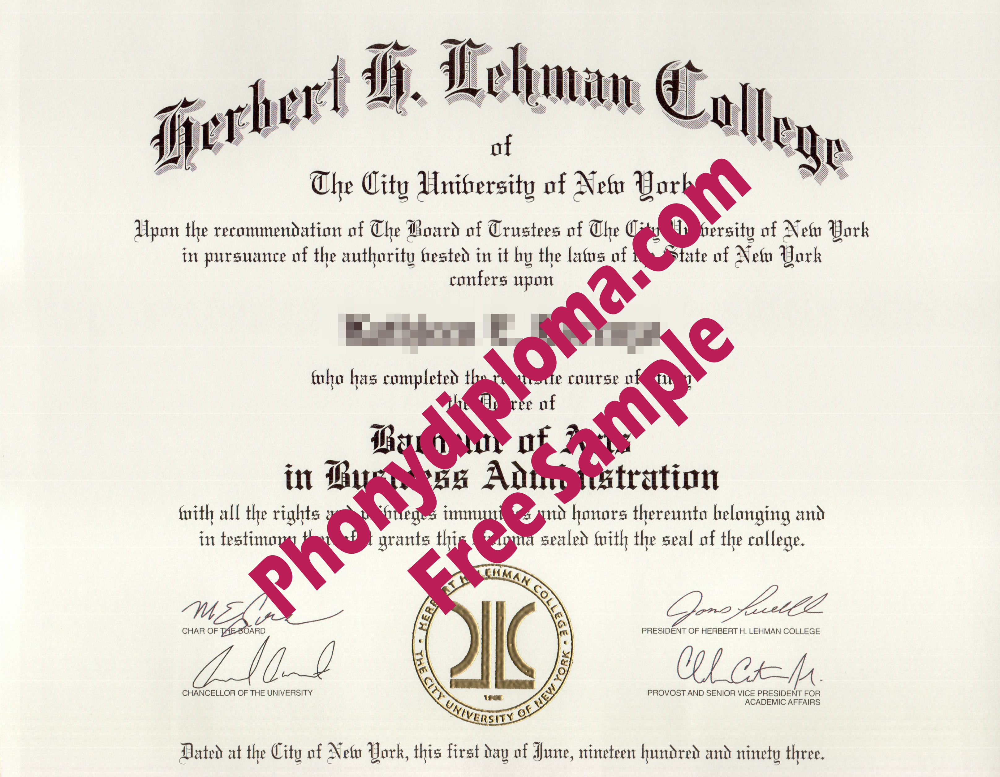 Herbert H Lehman College Free Sample From Phonydiploma