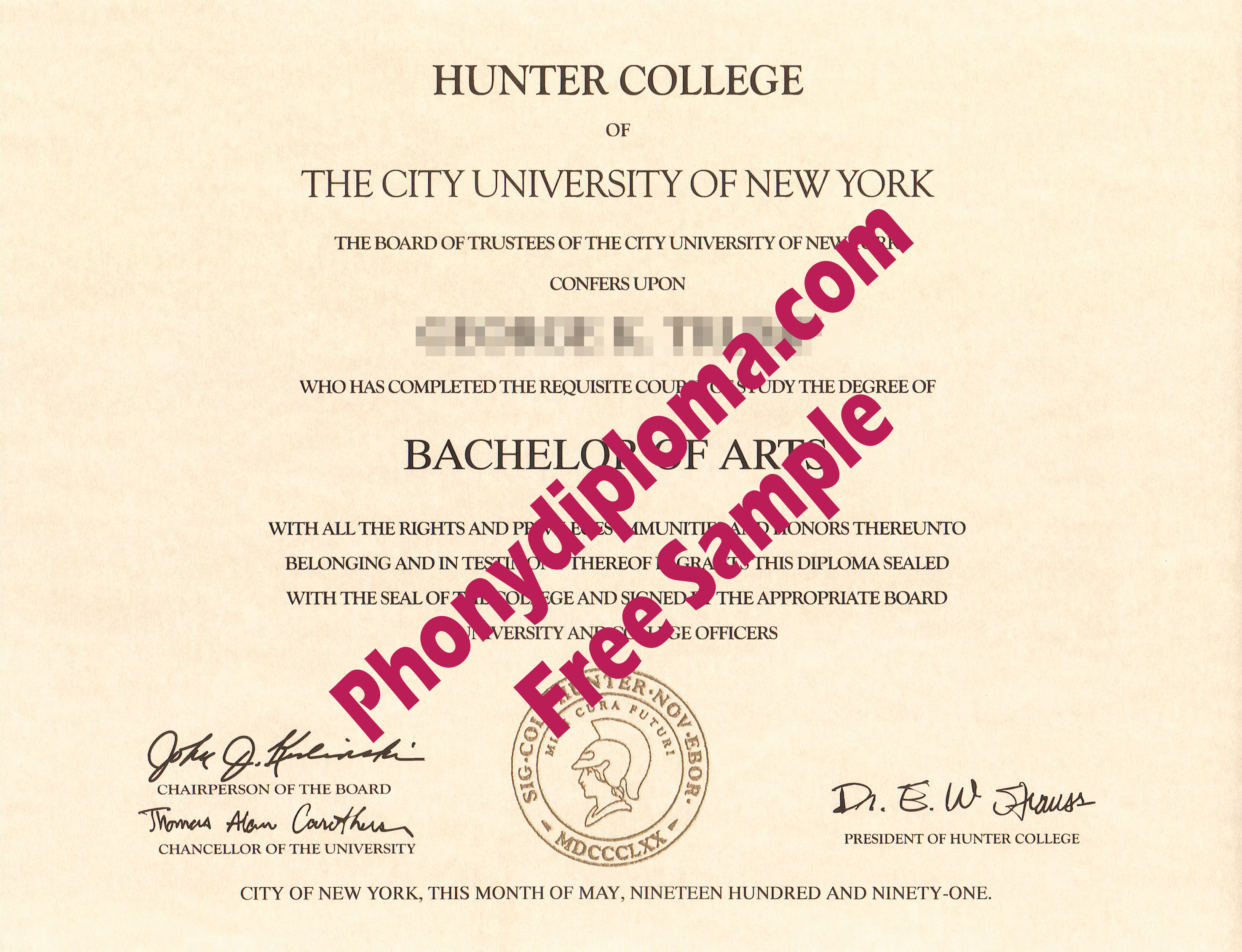 Hunter College Of City University Of New York Free Sample From Phonydiploma