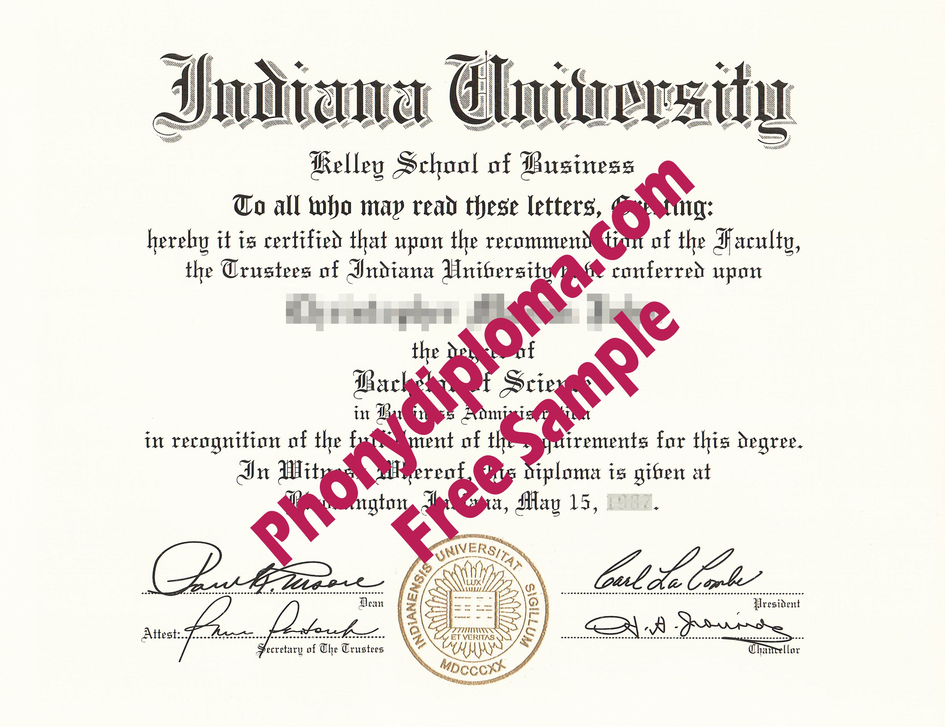 Indiana University Free Sample From Phonydiploma
