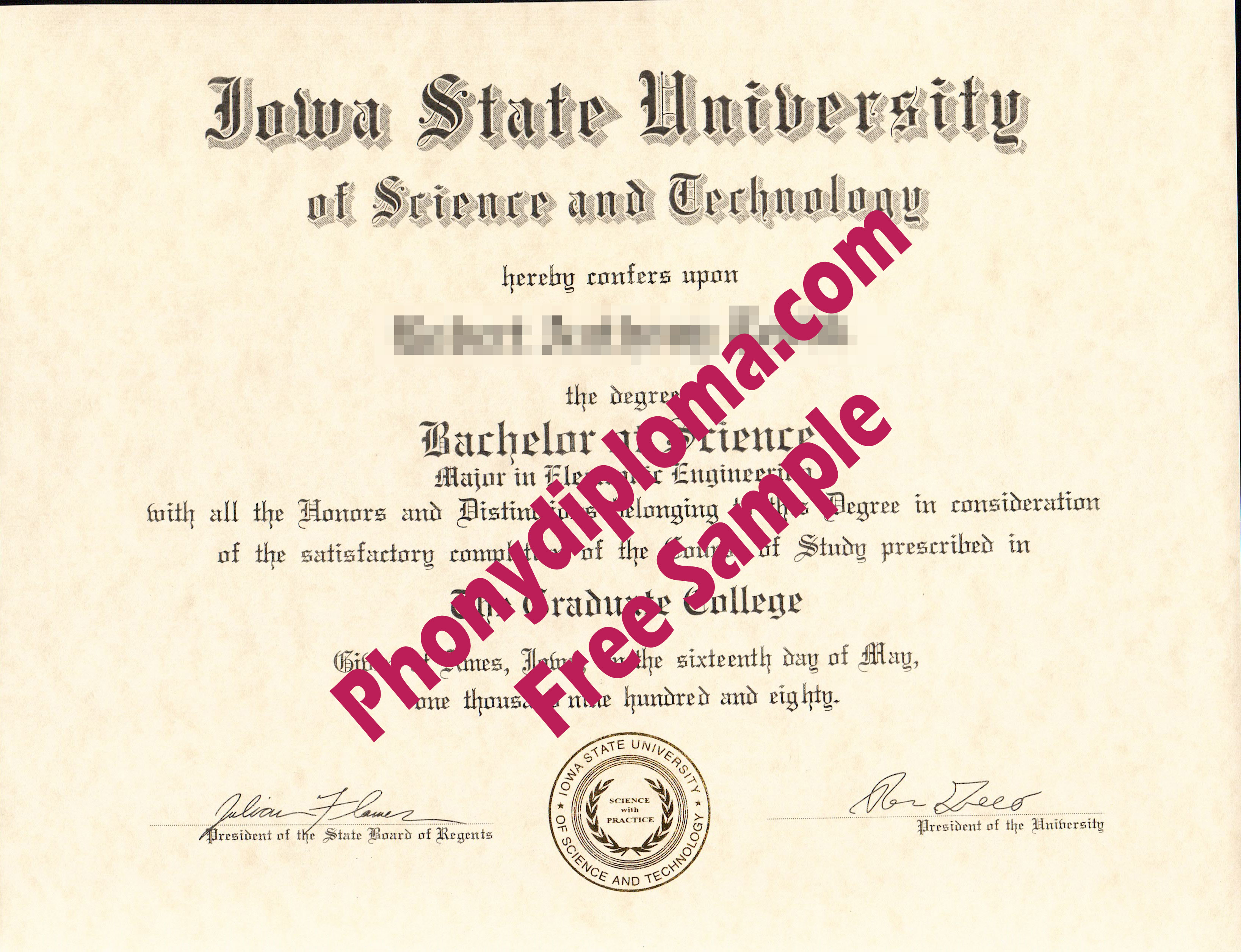 Iowa State University Free Sample From Phonydiploma
