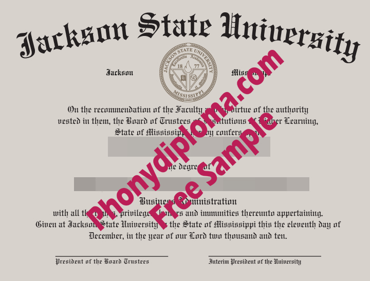 Jackson State University Ms Free Sample From Phonydiploma