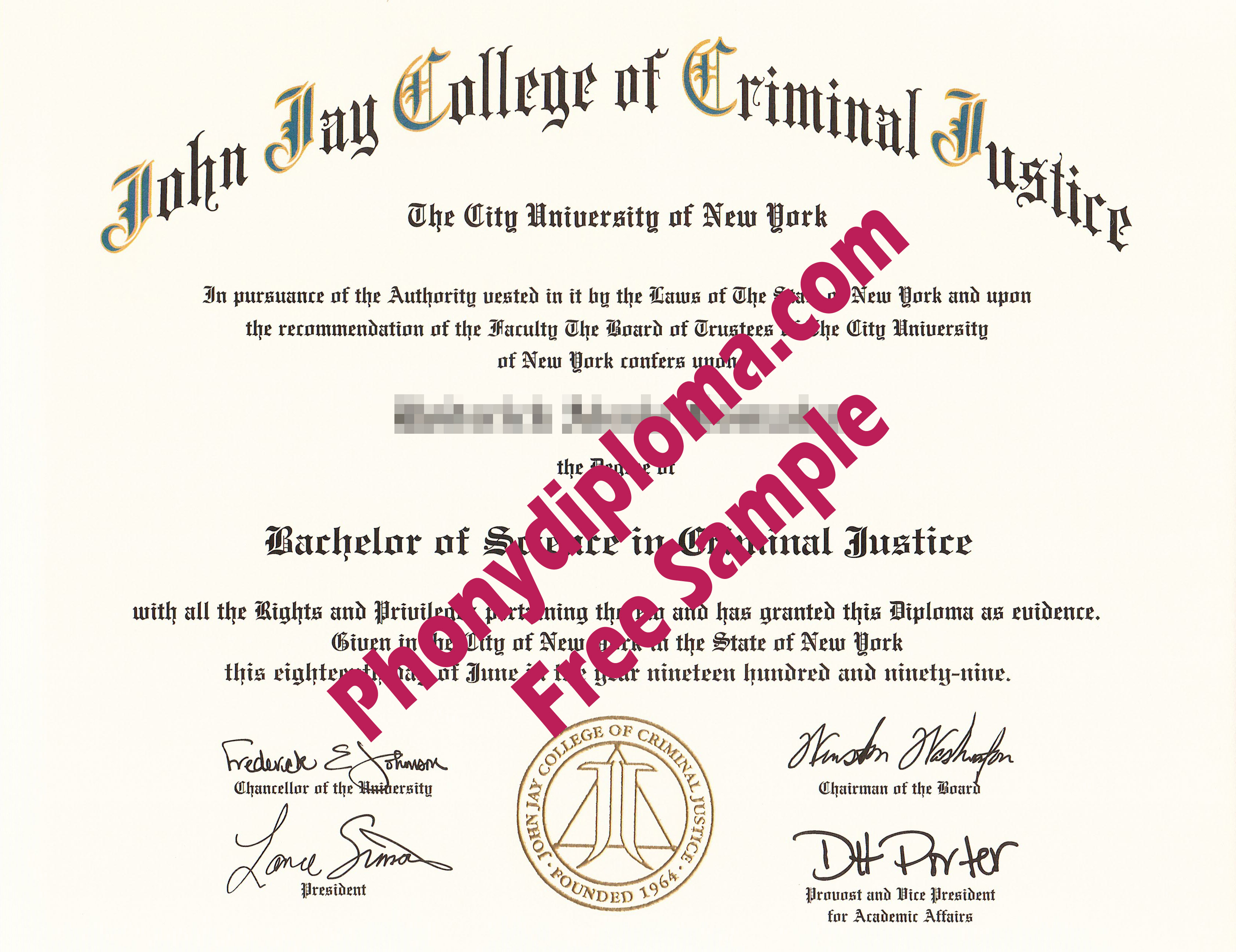 John Jay College Of Criminal Justice Free Sample From Phonydiploma