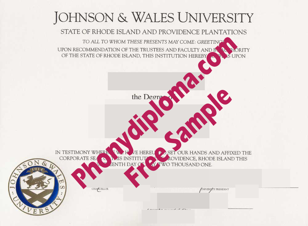 Johnson & Wales University Free Sample From Phonydiploma