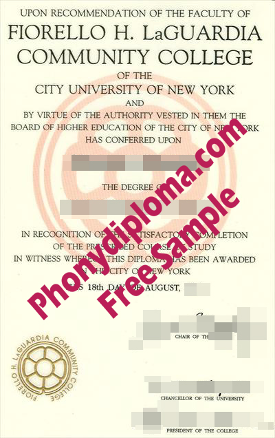 Laguardia Community College Free Sample From Phonydiploma