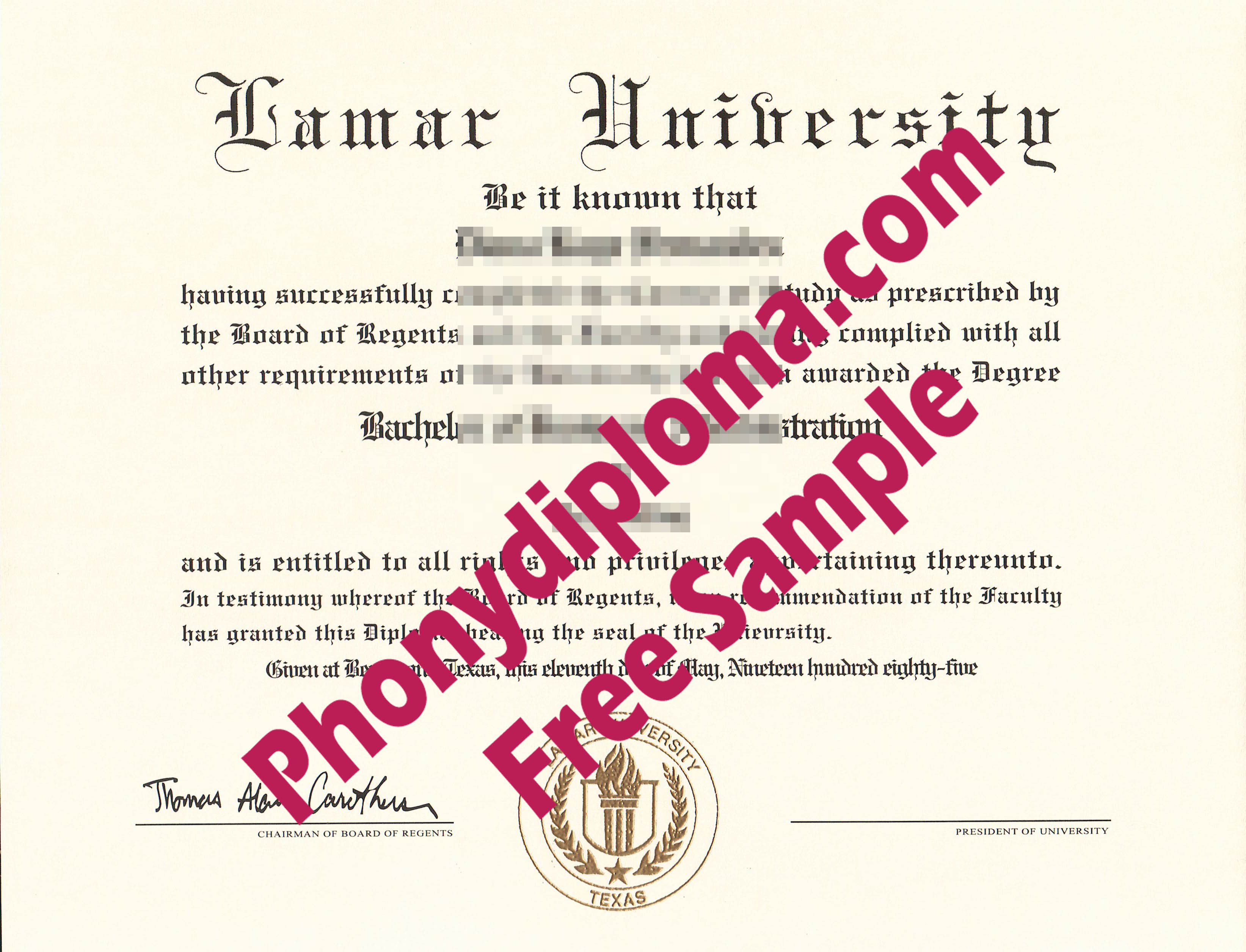 Lamar University Free Sample From Phonydiploma