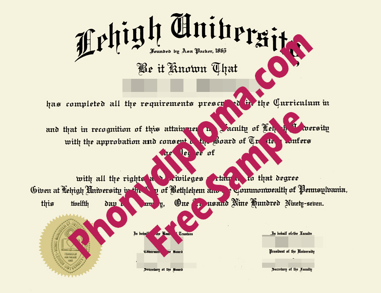 Lehigh University Diploma Free Sample From Phonydiploma