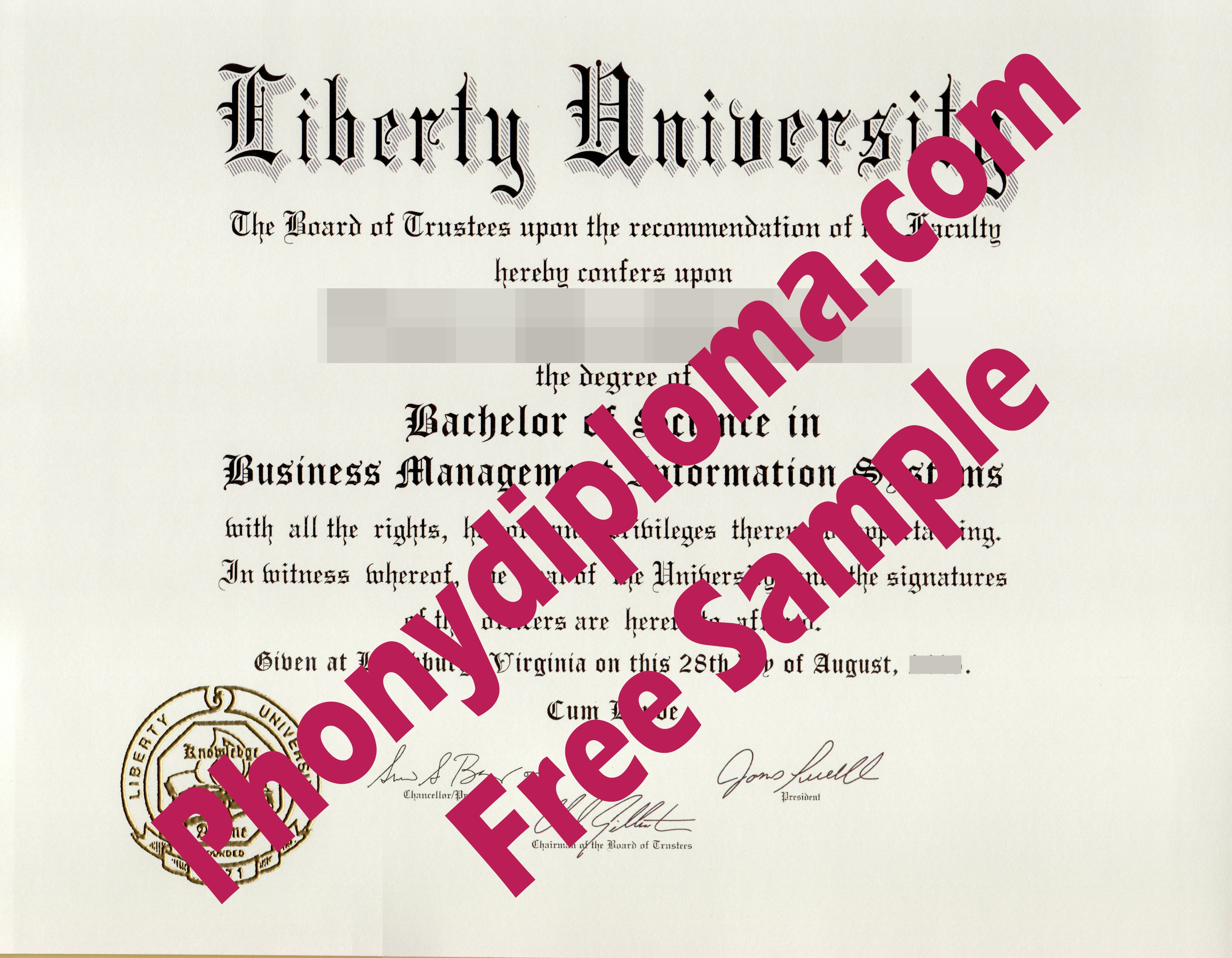 Liberty University Free Sample From Phonydiploma