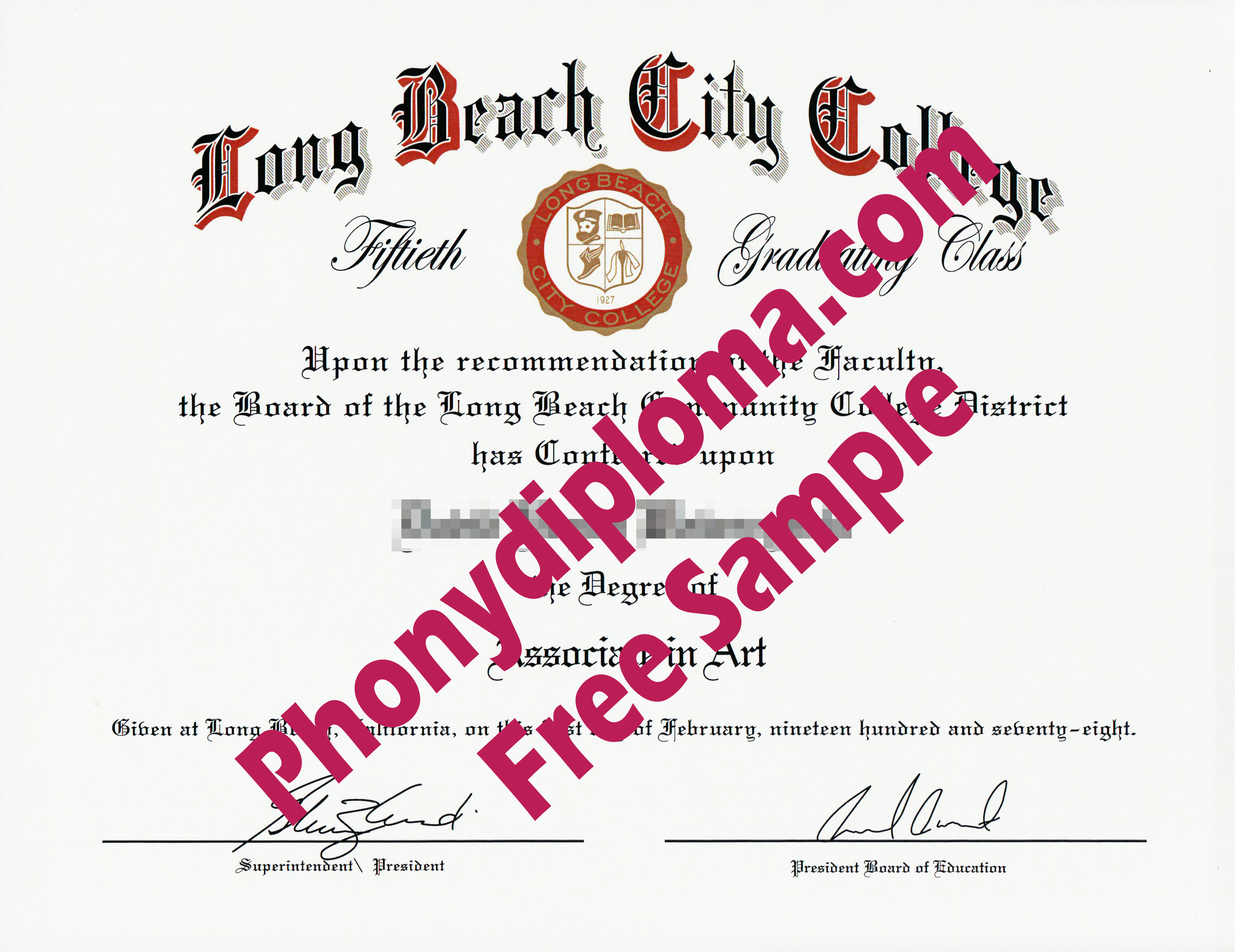 Long Beach City College Ca Free Sample From Phonydiploma