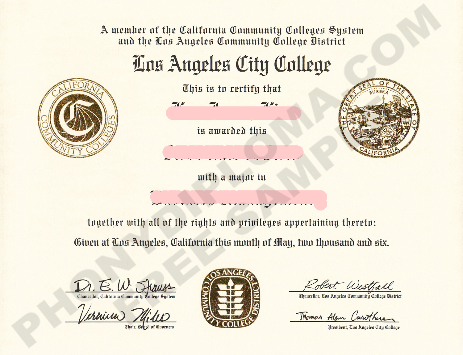 Los Angeles City College Free Sample From Phonydiploma