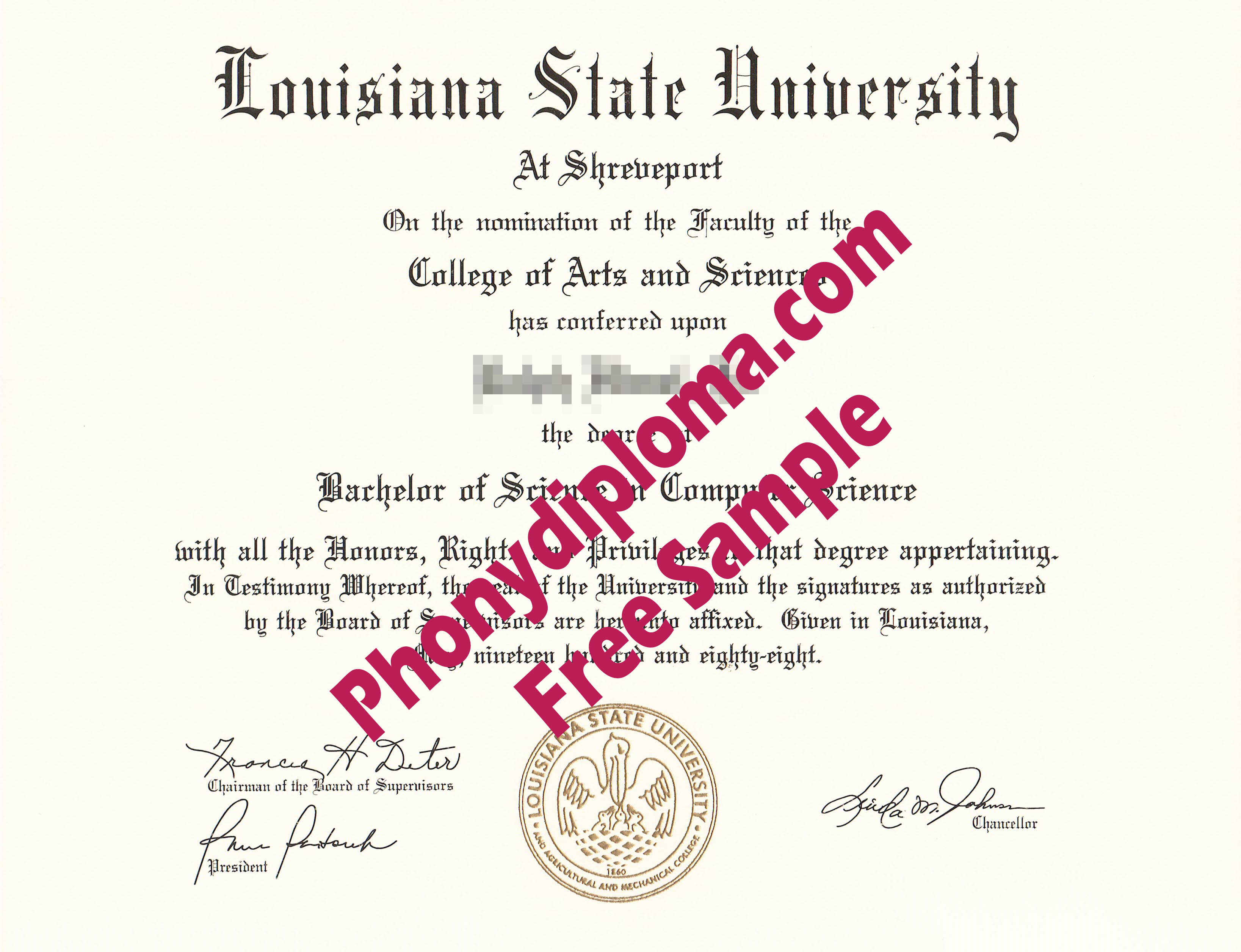 Louisiana State University At Shreveport Free Sample From Phonydiploma