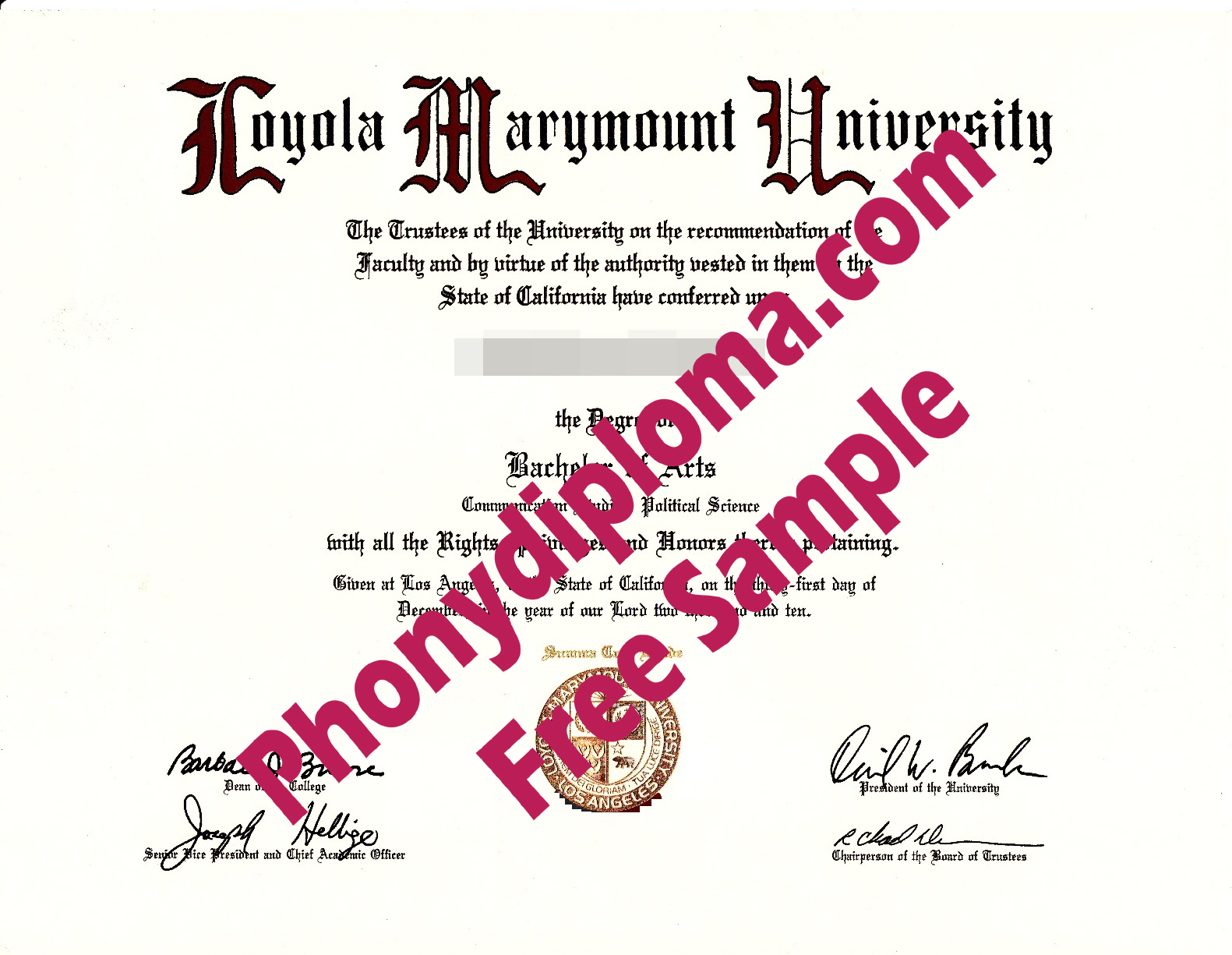 Loyola Marymount Free Sample From Phonydiploma
