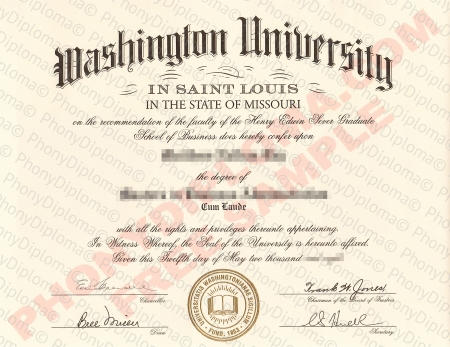 Missouri Washington University In Saint Louis Fake Diploma Sample
