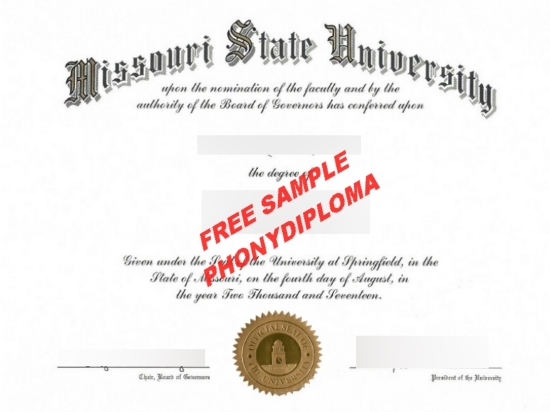 Usa Missouri State University Free Sample From Phonydiploma