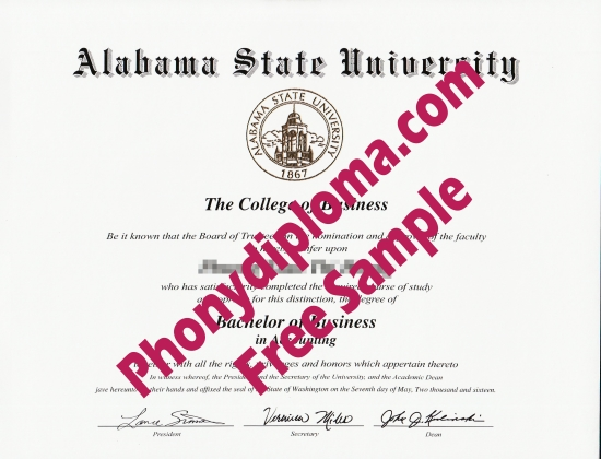 Usa Alabama State University Free Sample From Phonydiploma