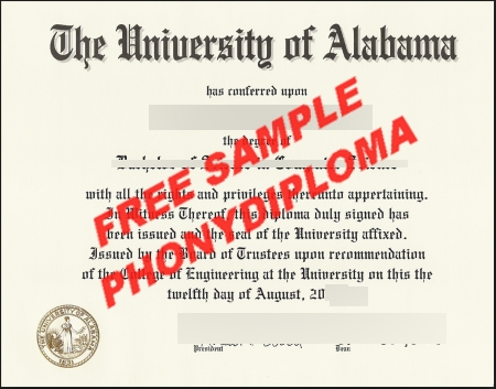 Usa Alabama The Universioty Of Alabama Free Sample From Phonydiploma