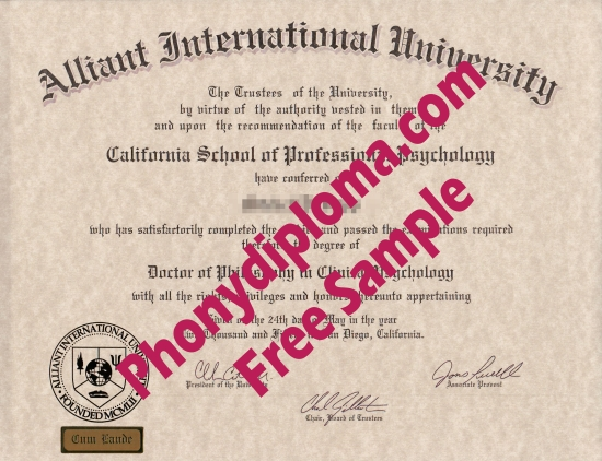 Usa Alliant International University Free Sample From Phonydiploma