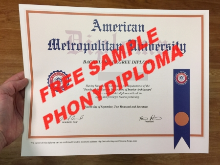 Usa American Metropolitan University Photo Free Sample From Phonydiploma