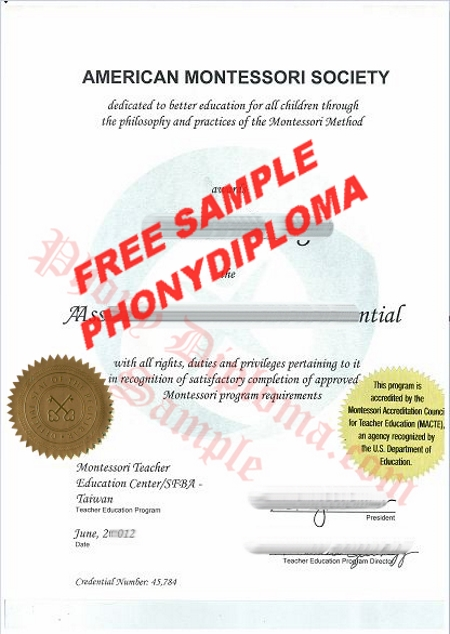 Usa American Montessori Society Free Sample From Phonydiploma