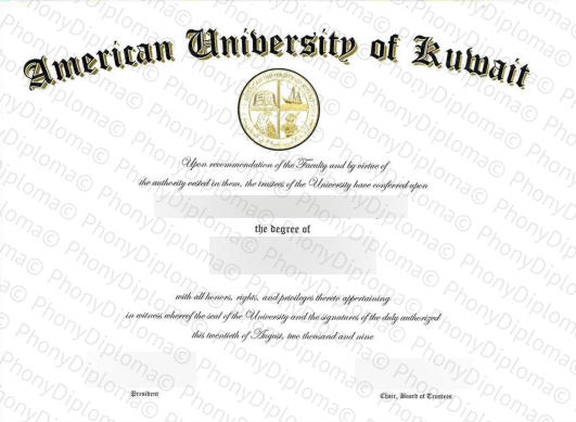 Usa American University Of Kuwait Free Sample From Phonydiploma