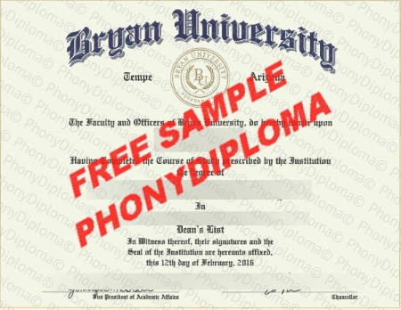 Usa Arizona Bryan University Free Fake Diploma Sample