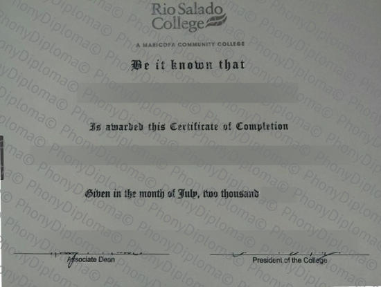 Usa Arizona Rio Salado College Free Sample From Phonydiploma