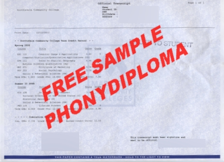 Usa Arizona Scottsdale Community College Actual Match Transcript Free Sample From Phonydiploma