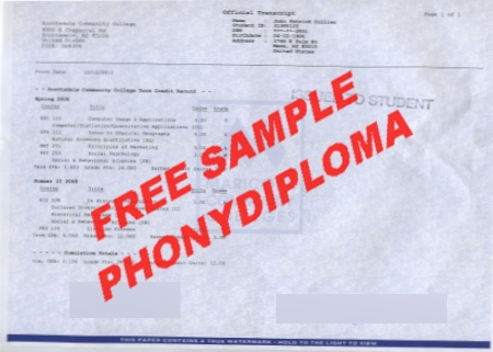Usa Arizona Scottsdale Comunity College Actual Match Transcript Free Sample From Phonydiploma