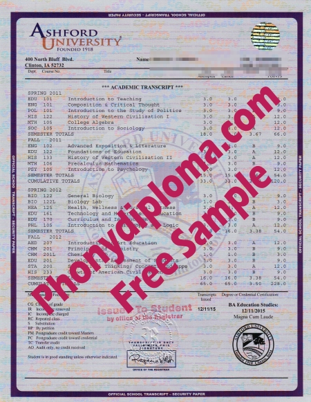 Usa Ashford University House Design Transcript Free Sample From Phonydiploma