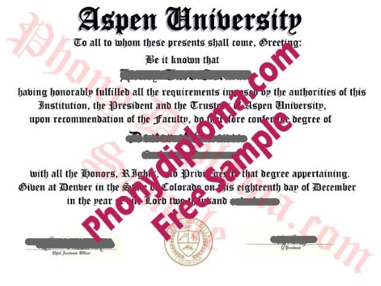 Usa Aspen University Free Sample From Phonydiploma