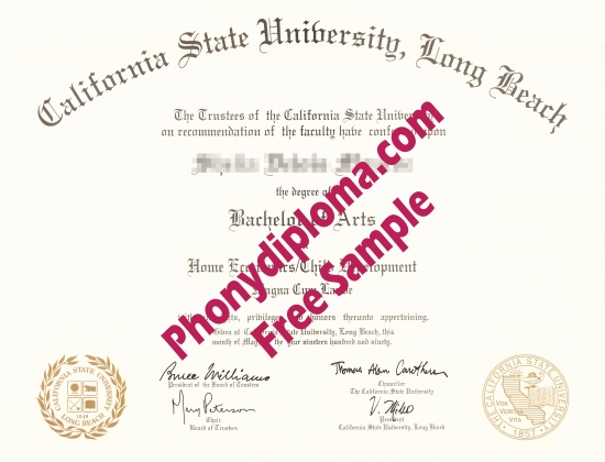 Usa Cal State Long Beach Free Sample From Phonydiploma