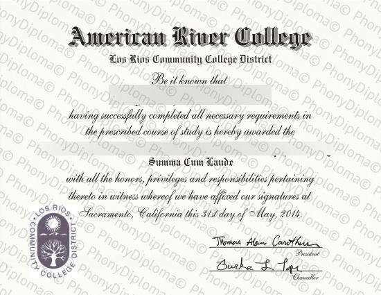 Usa California American River College Free Sample From Phonydiploma