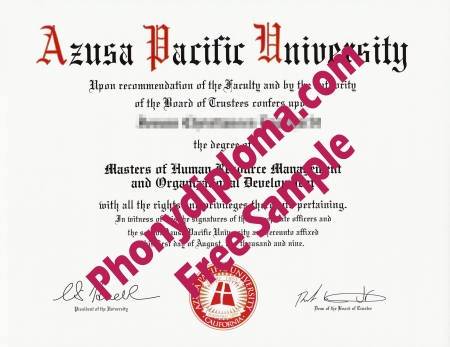 Usa California Azusa Pacific University Free Sample From Phonydiploma