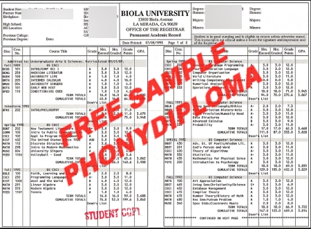 Usa California Biola University Actual Match Transcript Free Sample From Phonydiploma