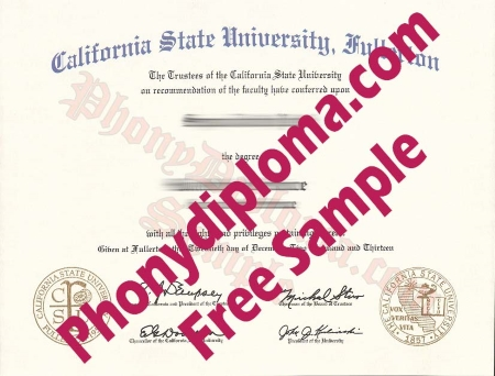 Usa California Cal State Fullerton Free Sample From Phonydiploma
