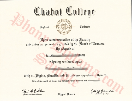 Usa California Chabot College Free Sample From Phonydiploma