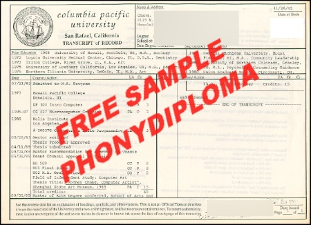 Usa California Columbia Pacific University Actual Match Transcript Free Sample From Phonydiploma