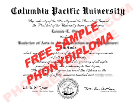 Usa California Columbia Pacific University Free Sample From Phonydiploma
