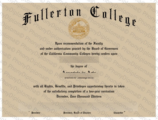 Usa California Fullerton College Free Sample From Phonydiploma