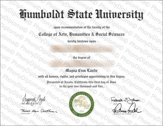 Usa California Humboldt State University Free Sample From Phonydiploma