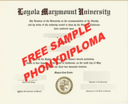 Usa California Loyola Marymount 2 Free Sample From Phonydiploma