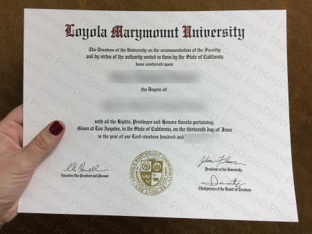 Usa California Loyola Marymount University Diploma Free Sample From Phonydiploma