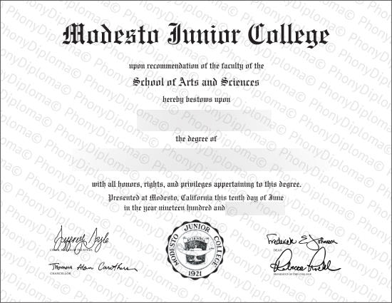 Usa California Modesto Junior College Free Sample From Phonydiploma