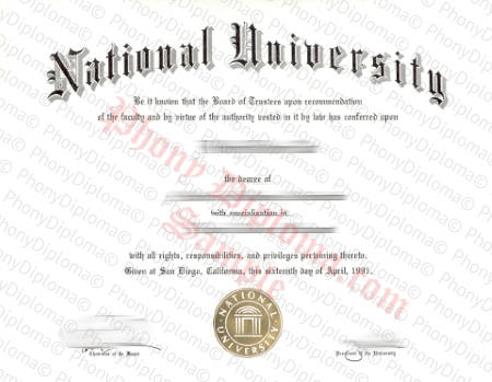 Usa California National University Free Fake Diploma Sample