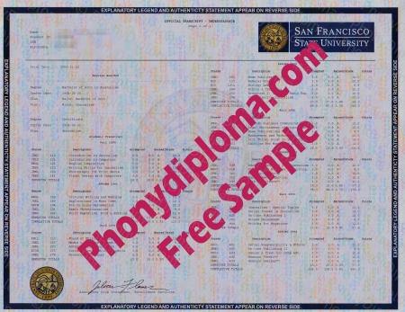 Usa California San Francisco State University Actual Match Transcript Fake Diploma Sample