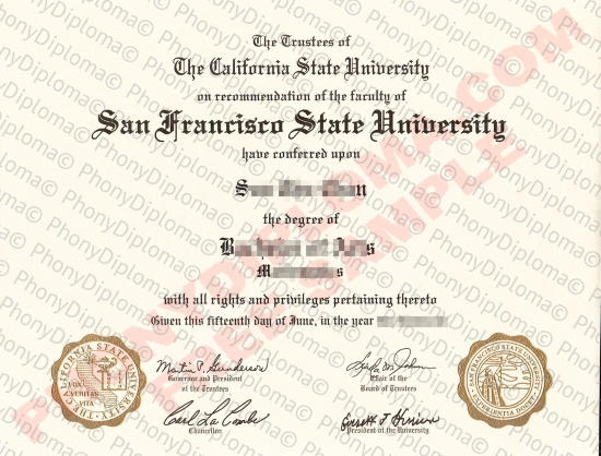Usa California San Francisco State University Free Sample From Phonydiploma