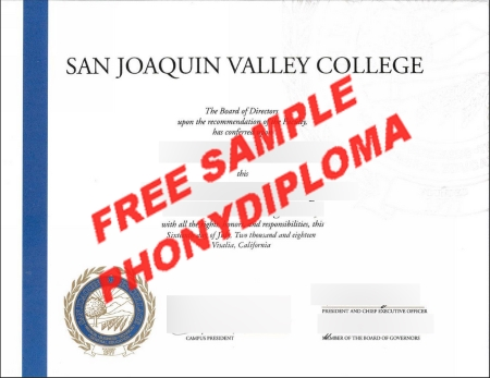 Usa California San Joaquin Valley College Free Sample From Phonydiploma
