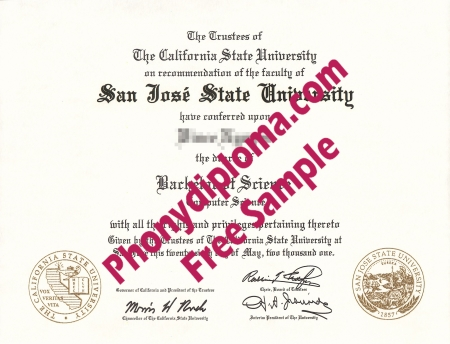 Usa California San Jose State University Free Sample From Phonydiploma