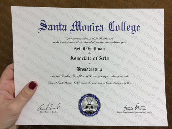 Usa California Santa Monica College Fake Diploma From Phonydiploma