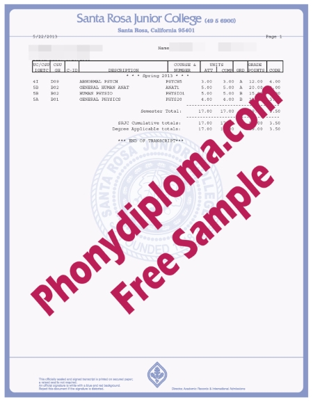 Usa California Santa Rosa Junior College Actual Match Transcripts Sample Phonydiploma